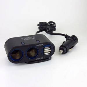2連シガーソケット USBポート付 DC12V用 出力合計8A セパレート式 角度調整可能 コード長90cm ブレイス BS-400|hotroadparts