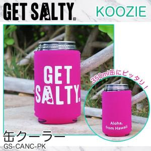 KOOZIE ピンク 缶クーラー 350ml 保冷缶ホルダー ロゴ入り 折りたたみ アウトドア GET SALTY GS-CANC-PK|hotroadparts