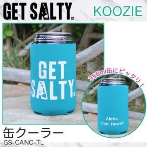 KOOZIE ティール 缶クーラー 350ml 保冷缶ホルダー ロゴ入り 折りたたみ アウトドア GET SALTY GS-CANC-TL|hotroadparts