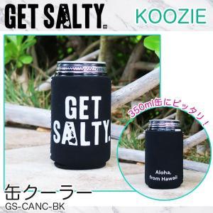 KOOZIE ブラック 缶クーラー 350ml 保冷缶ホルダー ロゴ入り 折りたたみ アウトドア GET SALTY GS-CANC-BK|hotroadtirechains
