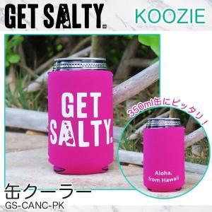 KOOZIE ピンク 缶クーラー 350ml 保冷缶ホルダー ロゴ入り 折りたたみ アウトドア GET SALTY GS-CANC-PK|hotroadtirechains