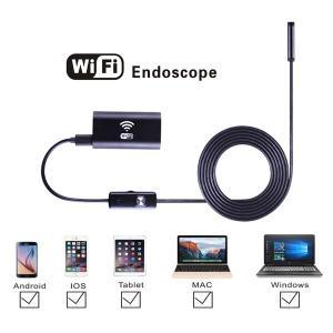 Wi-Fi 内視鏡 8mmレンズ6 LED USB防水 ボアスコープカメラ 1m