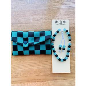 市松模様鬼緑と黒小物入れ念珠袋念珠セットプレゼント数珠子供用 hourin-shop