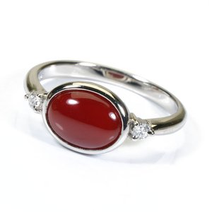 血赤珊瑚 レッド レディース リング 指輪 プラチナ Pt900 高知産 無染色 SANSUI