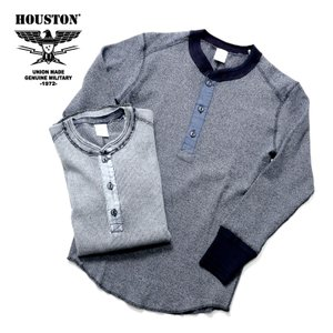 HOUSTON / ヒューストン 21764 HEATHER INDIGO H/N RIB TEE / ヘザーインディゴヘンリーネックリブTシャツ -全2色-|houston-1972