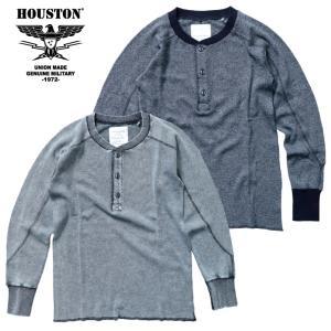 HOUSTON / ヒューストン 21839 HEATHER INDIGO THERMAL H/N TEE / ヘザーインディゴ サーマル ヘンリーネック Tシャツ -全2色-|houston-1972