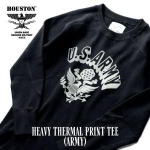 HOUSTON / ヒューストン 21915 HEAVY THERMAL PRINT TEE(ARMY) / ヘビーサーマルクルーネックロングスリーブプリントTシャツ(アーミー) -全4色-|houston-1972