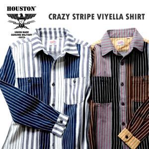 HOUSTON / ヒューストン 40765CZ CRAZY  STRIPE VIYELLA SHIRT / クレイジーストライプビエラシャツ -全2色-|houston-1972
