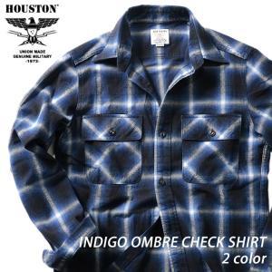 HOUSTON / ヒューストン 40806 INDIGO OMBRE CHECK SHIRT / インディゴオンブレーチェックシャツ -全2色-|houston-1972