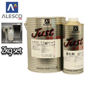 関西ペイント 2液 JUST H-S フィラー  2kgセット(シンナー硬化剤付)/自動車用ウレタン塗料 カンペ ウレタン 塗料 サフェーサー プラサフ houtoku
