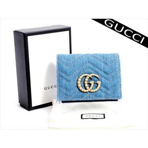 b3b45215f62e 未使用 GUCCI 二つ折り財布 青 財布 GG マーモント デニム .