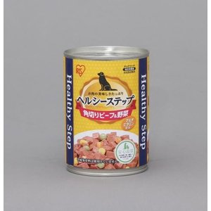 【数量限定特価】アイリスオーヤマ ヘルシーステップ 缶詰 ドックフード 角切りビーフ&野菜 375g P-HLC-KB|hows