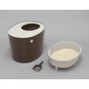 アイリスオーヤマ 上から猫トイレ システムタイプ ベージュ/ブラウン レギュラー PUNT-530S|hows