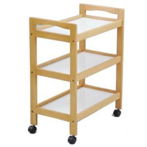 【発売元】 YAMAZEN  【商品説明】 ●棚3段タイプの木製収納ワゴン ●調味料や食器をのせて食...