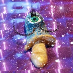 Eyeball Mushroom:ブローチ/ ササクレヒトヨ目玉茸:吉田男爵:ホイホイレコードだけ販売|hoyhoy-records