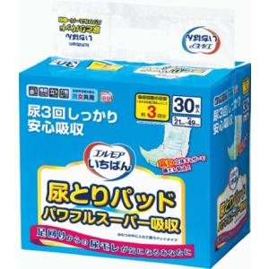 エルモアいちばん尿とりパッドパワフルスーパー吸収30枚 1ケース(30枚×8パック) /カミ商事大人用オムツ/パッド型|hp100