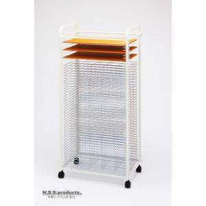 HIRANO.S.S. スリム絵画作品乾燥棚 差込式50段EX 粘土乾燥用ベニヤ板3枚付(画板整理兼用:画板は付属しません)『予約』|hss-products