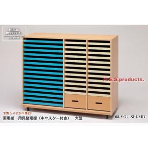 画用紙・用具整理棚 木目調 キャスター付き 大型(平野システム作業台)|hss-products