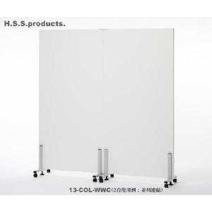(平野システム作業台)簡単・連結展示パネル(展示板・ポスターボード) 白×白900(両面白プリント) キャスタータイプ※写真は2台連結した使用例