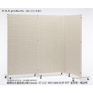 (Gemini)縦横自在 連結展示パネル(展示板)(ジェミニ) 両面有孔ボード  900×1800 キャスタータイプ 基本セット(パネル1枚+支柱2本)