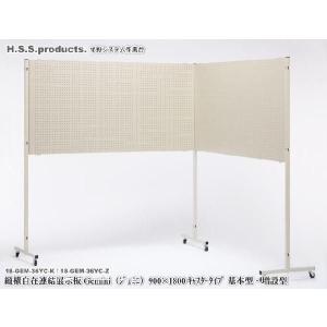(Gemini)縦横自在 連結展示パネル(展示板)(ジェミニ) 両面有孔ボード  900×1800 キャスタータイプ 増設用セット(パネル1枚+支柱1本)