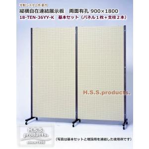 HIRANO.S.S. 縦横自在 連結展示パネル(展示板) 有孔×有孔(両面有孔ボード) 900×1800 基本セット(パネル1枚+支柱2本)