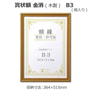 (送料無料)賞状額 金消(木製) B3  33J041E4400|hstsuge