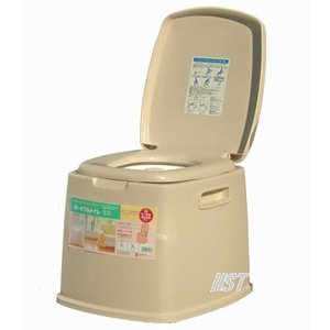 ポータブルトイレS型 ・専用消臭剤・便座カバー付安心のSGマーク認定商品TONBO(新輝合成株式会社)手付きのバケツ付!|hstsuge