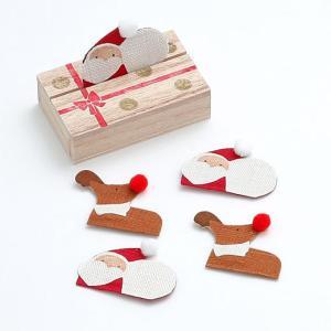 サンタクロースとトナカイの形をした、手績み手織りの麻でつくった小さなお香「絵形香」です。 桐箱の蓋に...
