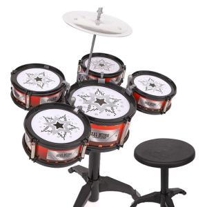 子供用 ミニドラムセット ドラマーごっこ バンドごっこ ドラムセット 楽器 5ドラム 小シンバル ドラムスティック スツール  プレゼント 景品