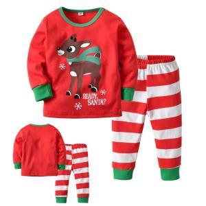 526fff387c821 クリスマス適用 パジャマ ルームウェア サンタ風 子供服 長袖シャツ+ロングパンツ カジュアル 上下セット スウェット トップス パンツ 綿 寝巻き