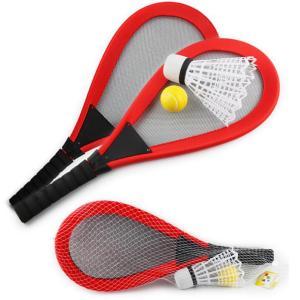 バドミントンラケットセット 子供テニスラケットセットおもちゃ スポーツおもちゃ 親子のゲーム キッズ知育玩具レッド