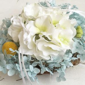 あじさいのリングピロー 完成品 ウエディング 結婚式 プリザーブドフラワー サムシングブルー ジューンブライド hugge