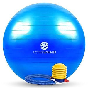 Active Winner バランスボール 65cm ブルー ポンプ付き! ヨガボール ダイエット ...