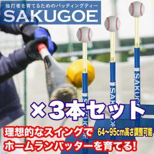 野球 バッティングティー スタンド 硬式 軟式 ソフトボール ホームランバッターを育てるティーバッティング(ティースタンド)『サクゴエ PUT式(ver.7.1)』×3本 hung