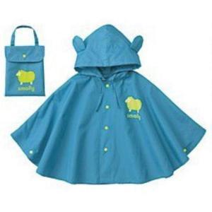 ボアソルチ キッズ レインコート ポンチョ 子供用 雨具 カッパ レインウェア レイングッズ (ブルー, S)|huratto