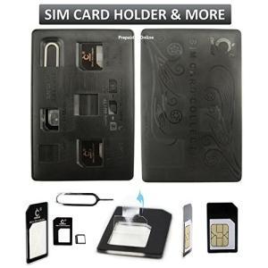 SIMカードホルダーケース、クレジットカードスタイルスリム&コンパクトウォレット、マイクロナノSIM...
