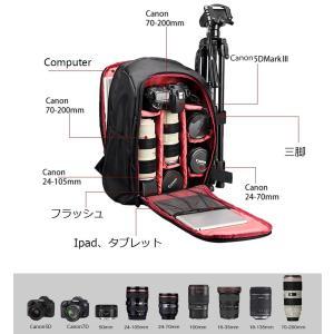 UNHO カメラバッグ 一眼レフ用 カメラリュック 大容量 防水 リュック 三脚/15インチパソコン...