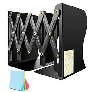 本立て 伸縮自在 ブックエンド 金属製 ブックスタンド スライド式 収納 デスク整理 ファイル/雑誌/新聞/書類入れ 仕切りスタンド 付箋付|huratto