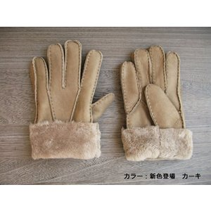 人気の暖か本革手袋 ムートンレザーグローブ 3色展開;J122- hushop 12