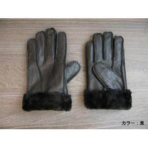 人気の暖か本革手袋 ムートンレザーグローブ 3色展開;J122- hushop 13