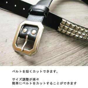 インパクト本革ピラミッドスタッズベルト: 3色展開; フリーサイズ ;K314- メンズ hushop 08