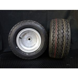 4ストブレーキドラム一体型アルミホイールタイヤ2本セット(DURO 16.5/6.5-8)シルバー / ミニカー登録OK・スペーサー不要 hvfactory