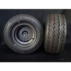 4ストブレーキドラム一体型アルミホイールタイヤ2本セット DURO 16.5/6.5-8・ブラック / ミニカー登録OK・スペーサー不要 hvfactory
