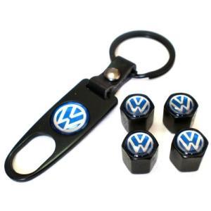 Volkswagen VW フォルクスワーゲン エアバルブキャップ 4個セット & キーホルダー型工具セット hyakushop