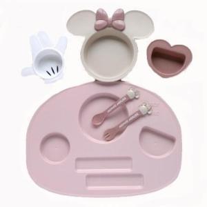 ミッキーマウス ベビー食器セット 出産祝い お食事セット 離乳食 女の子 男の子 ポリプロピレン スモークトーン|hydiya|02