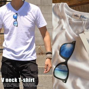 Vネック Tシャツ メンズ 眼鏡プリント サングラス 25414 半袖■05170614|hype
