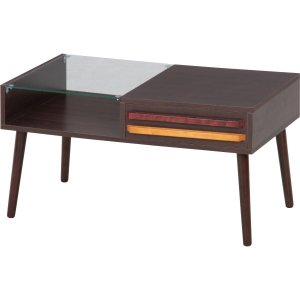 リビングテーブル オスロ HH−8040PG DBR ダークブラウン テーブル ローテーブル おしゃれ ガラステーブル hypnos