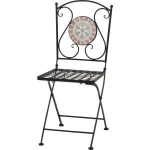 ガーデンチェアー/ガーデンファニチャー/チェアー/いす/椅子 ガーデンフォールディングチェア モザイクチェアー 花柄 US142096|hypnos
