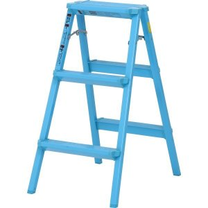 アルミ踏み台 3段 ブルー 踏み台 ステップラダー 折り畳み はしご|hypnos